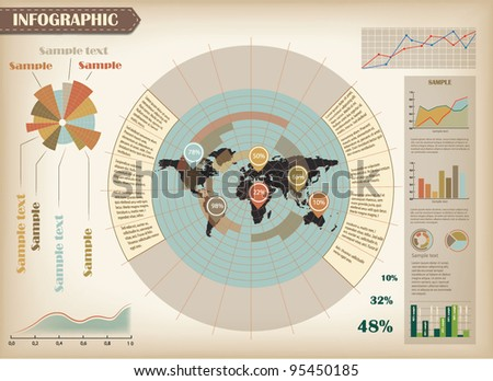 Infographic vector illustration with world map - stock vector