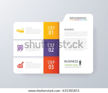 Infographic vertical 3 tab index design vector and marketing template business. Can be used for workflow layout, diagram, annual report, web design. Business concept with options, steps or processes.