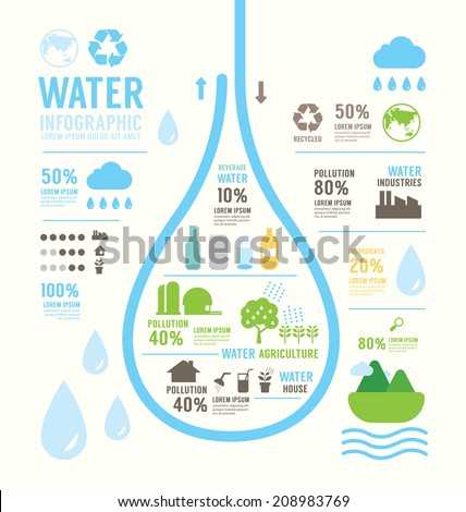Infographic water eco annual report template design . concept vector illustration - stock vector