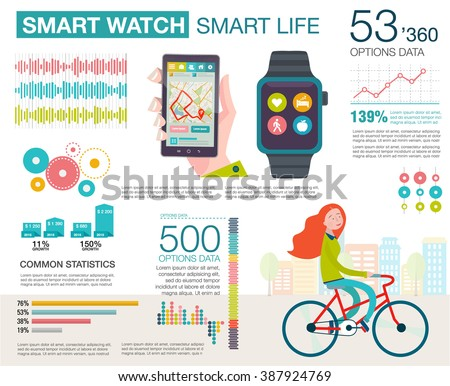 Infographic with charts, icons, map, diagrams. How people use smartwatch and smartphone. Modern technology equipment for monitoring the health. Vector illustration, flat modern style. - stock vector