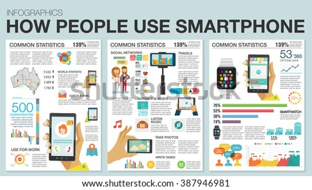 Infographic with charts, icons, map, diagrams. How people use smartwatch and smartphone. Use social networks, camera, email, looking news, video and picture. Vector illustration, flat modern style. - stock vector