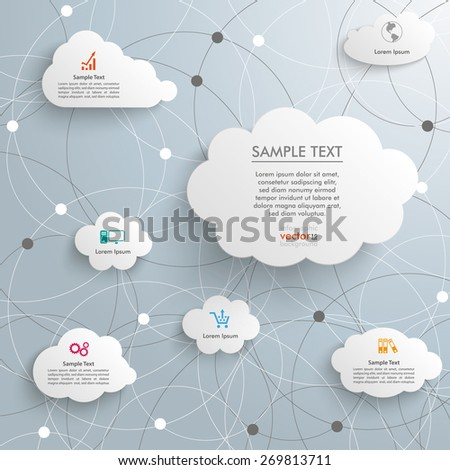 Infographic with clouds on the white background. Eps 10 vector file. - stock vector