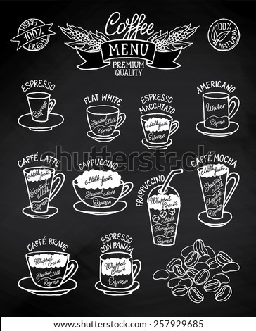 Infographic with coffee types and their preparation on blackboard. For cafe menu, brochure, fliers, chalkboard. Retro style. Black&white - stock vector
