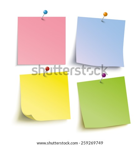 Infographic with colored stickers and tacks on the grey background. Eps 10 vector file. - stock vector