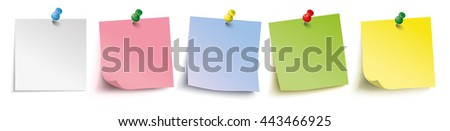 Infographic with colored stickers with pins on the white background. Eps 10 vector file. - stock vector