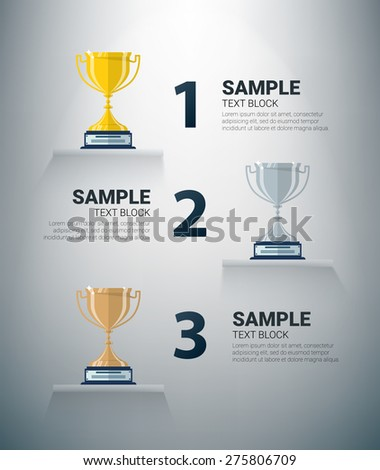 Infographic with golden, silver and bronze cups - stock vector