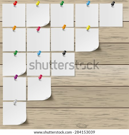Infographic with gray stickers and colored pins on the wooden background. Eps 10 vector file. - stock vector