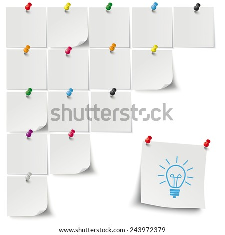 Infographic with gray stickers and colored thumbtacks on the grey background. Eps 10 vector file. - stock vector