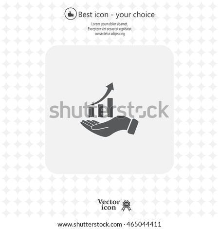 Infographic with hand, chart icon, vector illustration
