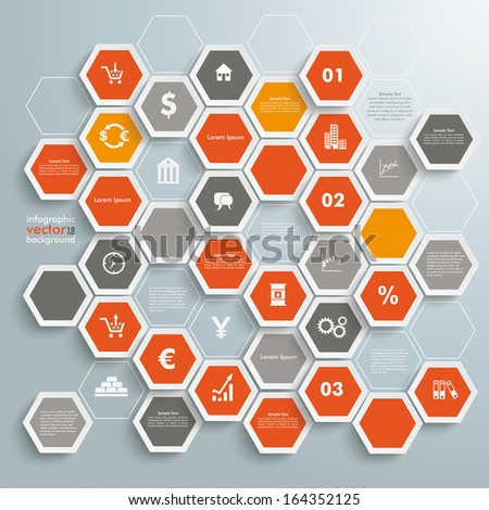 Infographic with honeycomb structure on the grey background. Eps 10 vector file. - stock vector