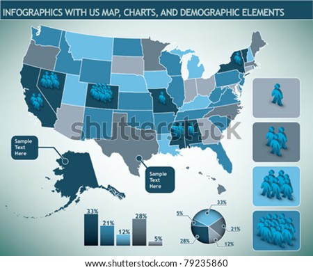 Infographic with map and demographic elements - stock vector