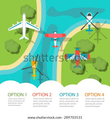 Infographic with planes and helicopters, top view. Air transport infographics design elements, vector illustration - stock vector