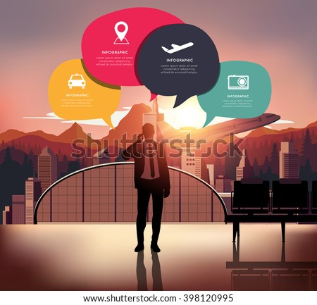 Infographic with silhouette people on airport background. - stock vector