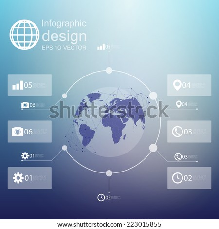 infographic with unfocused background and icons set for business design vector.