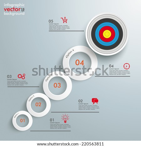 Infographic with white circles on the grey background. Eps 10 vector file. - stock vector