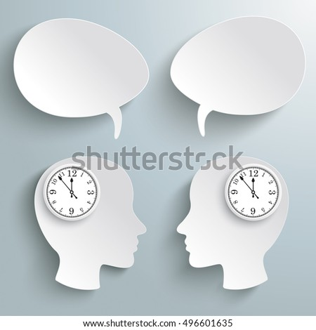 Infographic with white heads an a clock on the gray background. Eps 10 vector file.