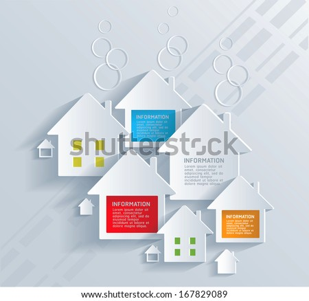 Infographic with white houses . - stock vector