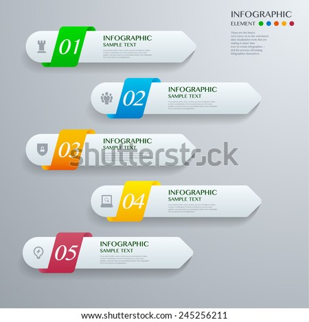 Infographic with white lable on the grey background. Eps 10 vector file - stock vector