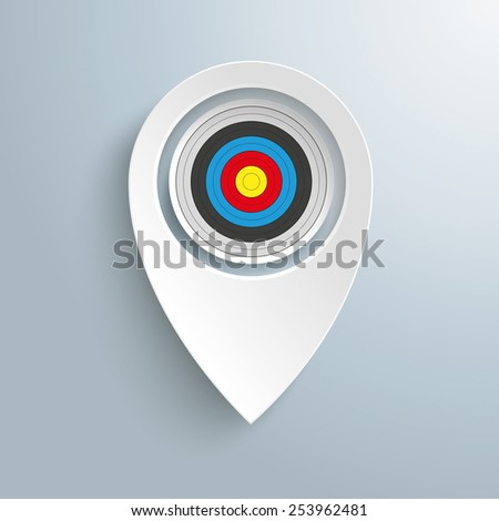 Infographic with white location marker and target on the gray background. Eps 10 vector file. - stock vector