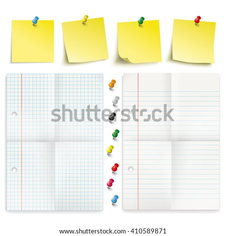 Infographic with yellow stickers, colored pins and 2 papers on the white background. Eps 10 vector file. - stock vector