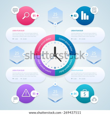 infographic. Work time management planning infographics template. Vector illustration eps 10. - stock vector