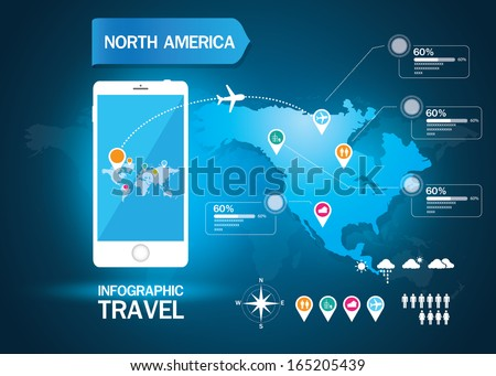 infographic world travel - stock vector