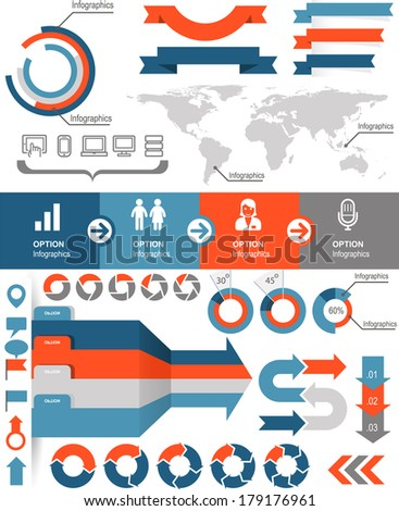 Infographics and statistic elements and icons - stock vector