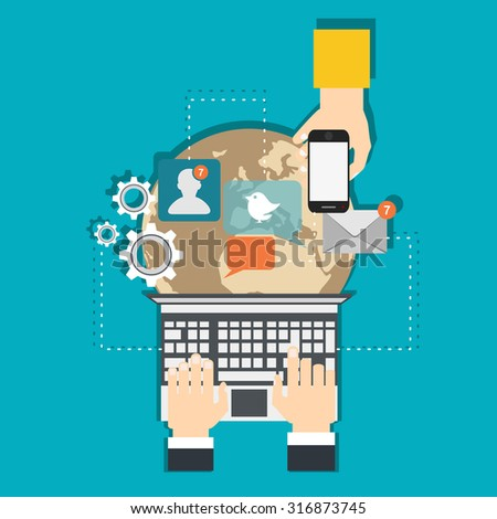 Infographics background network communication. Concept Internet comunications. Set icons - stock vector