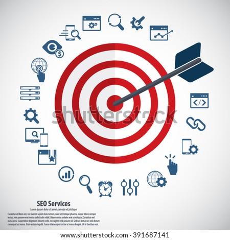 Infographics background seo optimization. SEO concept. Icon set. - stock vector