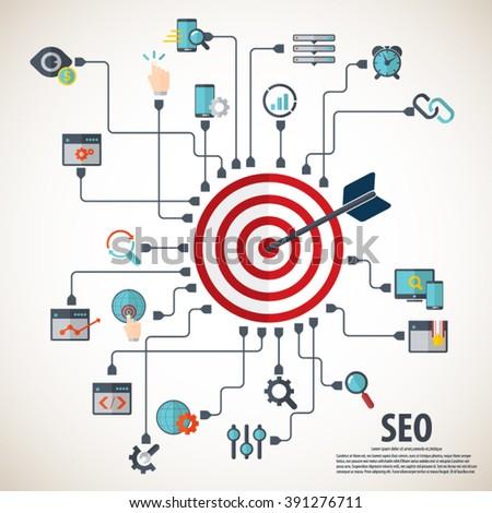 Infographics background seo optimization. SEO concept. SEO icon set. - stock vector