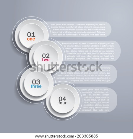 Infographics background with white circles and area for your text - stock vector