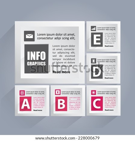 Infographics background with white cubes containing area for your text and icons - stock vector