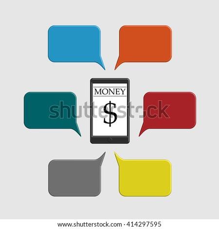 infographics banner mobile money transfer flat design style vector illustration - stock vector