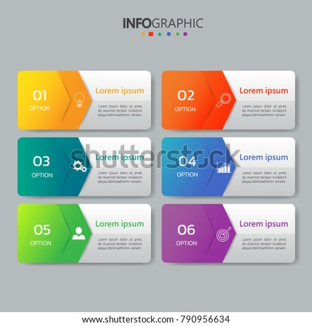 infographics banners template 6 optionscan be のベクター画像素材