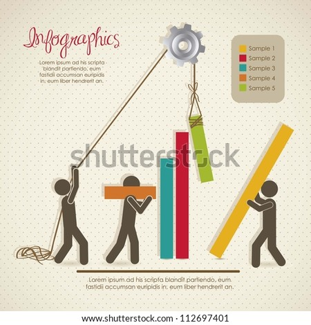Infographics, building with bars silhouettes, vector illustration - stock vector
