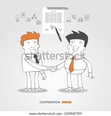 Infographics business background. C?oncept sign contract handshaking. Business people  surrounded by business icons. - stock vector