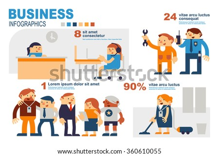 Infographics Business People and Colleagues in Workplace - stock vector