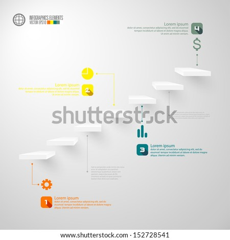 Infographics business staircase concept, Vector illustration.  - stock vector