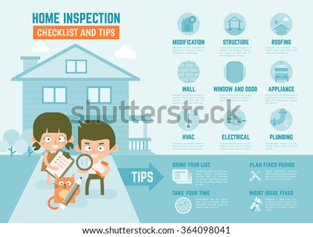 infographics cartoon character about home inspection checklist and tips - stock vector