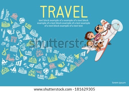 infographics. Cartoon family, flying on an airplane. Everyone is happy and cheerful. hand drawing. Set travel icons. - stock vector