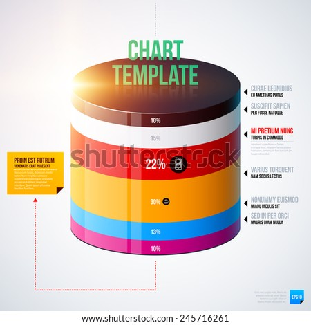 Infographics chart template with 3d cylinder. EPS10 - stock vector