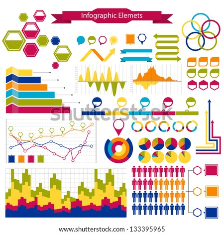 Infographics  collection: graphs, histograms,arrows, chart - stock vector
