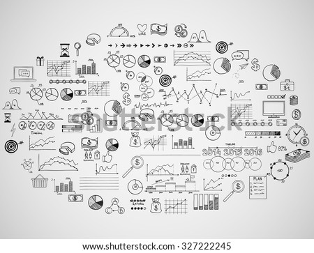 infographics collection hand drawn doodle sketch business ecomomic finance elements.