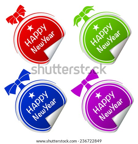 Infographics colorful stickers set christmas ball on white