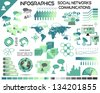 Infographics Communications Social Networks EPS10 - All objects grouped separately and easy to edit - stock
