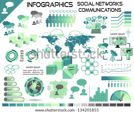 Infographics Communications Social Networks EPS10 - All objects grouped separately and easy to edit