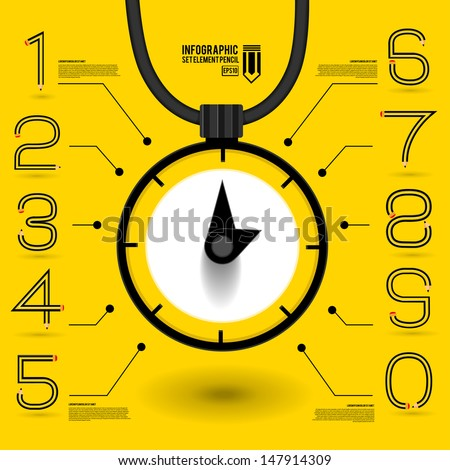 Infographics  concept by number shape pencil idea about a time  - stock vector