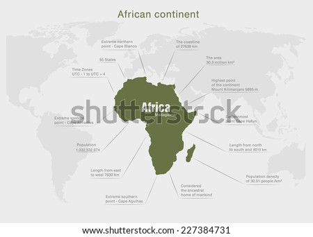 infographics continent Africa green and gray - stock vector