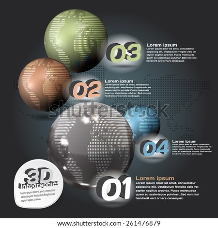 Infographics 3d abstract with glossy balls with a picture of the planet - stock vector