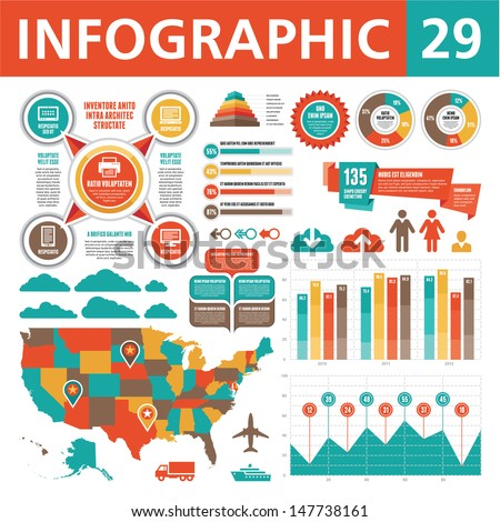 Infographics design elements 29. Business template in flat style for presentation, booklet, website and other creative projects. USA map.  - stock vector